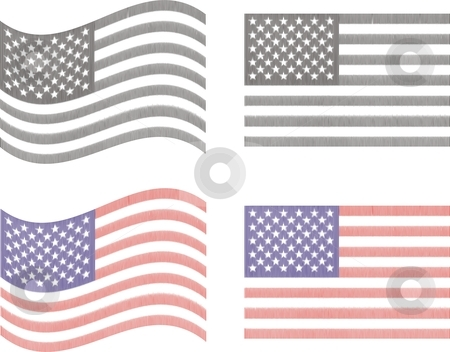 Usa Flag stock vector clipart, Vector illustration 2D flags of the U.S. red white black by Čerešňák