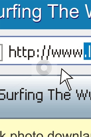 Web Surfing stock vector clipart, Address line on the computer blue gray white background the cursor arrow by Čerešňák