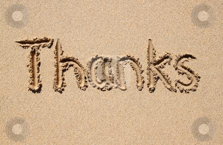 Thanks, written on a sandy beach. stock photo, Thanks, written on a sandy beach. by Stephen Rees