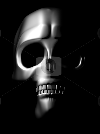 Front view of chrome skull stock photo, Iron skull coming out of the dark by danielboom