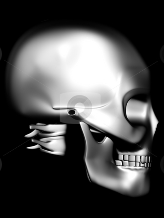 Side view of chrome skull stock photo, Stainless steel model in the dark by danielboom