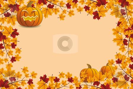Halloween pumpkin with leafs stock vector clipart, Halloween pumpkin with leafs holiday background illustration by Vadym Nechyporenko