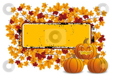 Halloween pumpkin with frame stock vector clipart, Halloween pumpkin with leafs and grunge frame by Vadym Nechyporenko