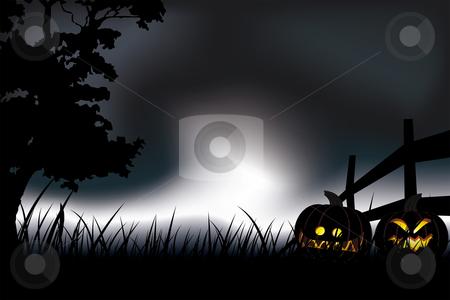 Halloween night stock vector clipart, Halloween pumpkin at night Abstract holiday background illustration by Vadym Nechyporenko