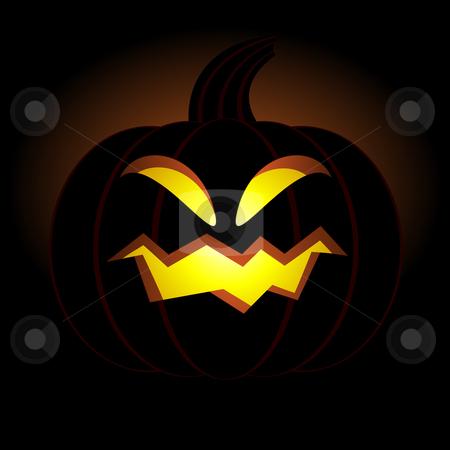 Halloween pumpkin with smile stock vector clipart, Halloween pumpkin with smile on black background by Vadym Nechyporenko