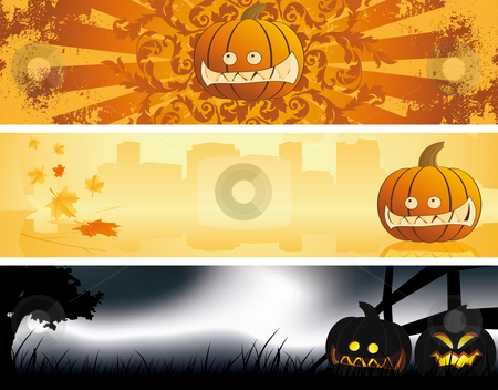Halloween banners stock vector clipart, Halloween pumpkin banners Abstract holiday background banners by Vadym Nechyporenko