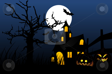 Halloween night stock vector clipart, Halloween background with pumpkin in grass tree bat and house by Vadym Nechyporenko