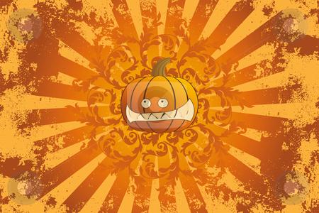 Halloween pumpkin with ornament stock vector clipart, Halloween pumpkin with ornament holiday background illustration by Vadym Nechyporenko