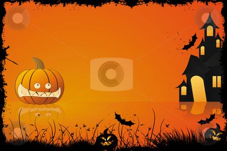 Grunge Halloween frame stock vector clipart, Grunge halloween frame with pumpkin in grass bat and house in background by Vadym Nechyporenko
