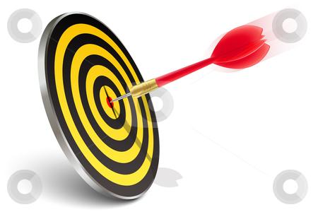 Red dart hitting the target stock vector clipart, Red dart hitting the target on white by Laurent Renault