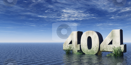 Error 404 stock photo, The number 404 at the ocean under cloudy blue sky - 3d illustration by J?