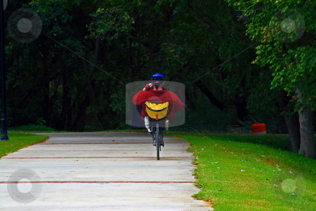 Bike riding stock photo, Man exercising on bike trail by Jack Schiffer