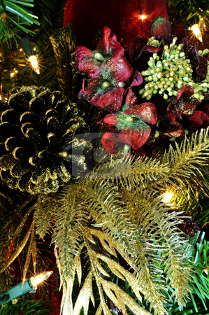 Chritmas Decoration stock photo, Finely detailed christmas tree decoration with small lights in the background by Lynn Bendickson