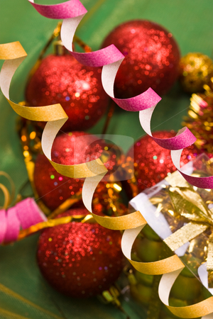 Christmas decoration stock photo, Holiday series: Christmas streamer and decorated ball by Gennady Kravetsky