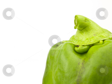Green Bell Pepper top stock photo, Green bell pepper top on a white background by John Teeter