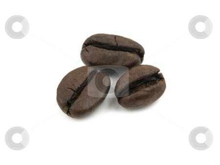 Three Coffee Beans stock photo, Three coffee beans on a white background by John Teeter