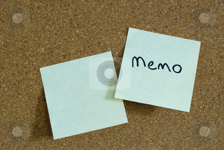 Sticky notes stock photo, Two sticky notes on a cork notice board by Stephen Gibson