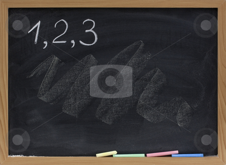 One, two, three numbers on blackboard stock photo, Numbers one, two, three handwritten with white chalk on blackboard with smudges and texture by Marek Uliasz