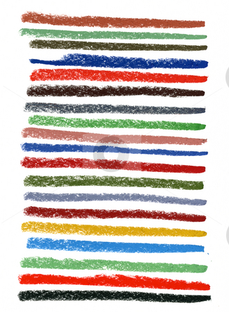 Color smudged lines with pastel crayons stock photo, A set of thick smudged lines of different colors by soft pastel crayons on white drawing paper by Marek Uliasz