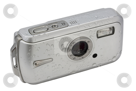 Waterproof digital camera stock photo, Waterproof compact digital camera covered with water drops isolated on white with clipping path, scratches and spots due to intense outdoor use by Marek Uliasz