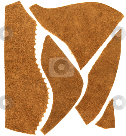 Brown leather scraps stock photo, Soft brown leather (unfinished side) - scraps of different shapes and edges on white background by Marek Uliasz