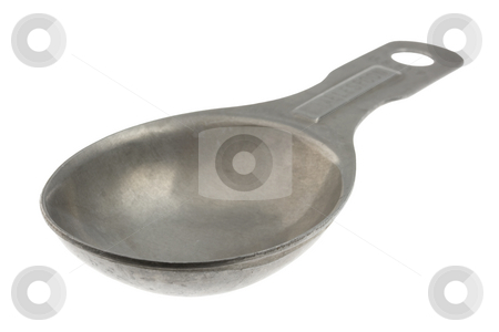 Empty aluminum measuring tablespoon stock photo, Empty old aluminum measuring tablespoon with scratches and stains isolated on white with clipping paths by Marek Uliasz