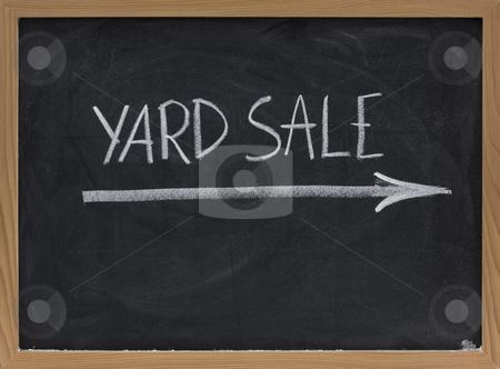 Yard sale sign on blackboard stock photo, Yard sale text handwritten with white chalk on blackboard by Marek Uliasz