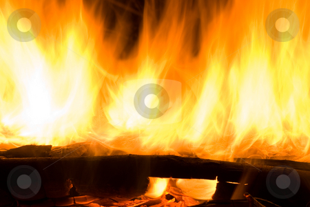 Fire flames in campfire stock photo, Fire flames in campfire, as texture or background. by Lawren
