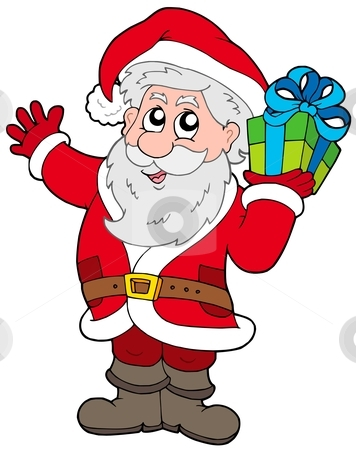 Santa Claus with Christmas gift stock vector clipart, Santa Claus with Christmas gift - vector illustration. by Klara Viskova