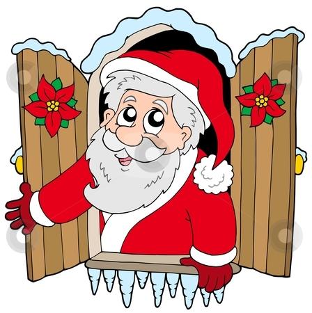 Christmas window with Santa Claus stock vector clipart, Christmas window with Santa Claus - vector illustration. by Klara Viskova