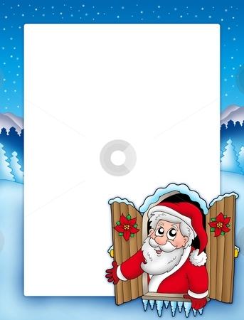 Christmas frame with Santa in window stock photo, Christmas frame with Santa in window - color illustration. by Klara Viskova
