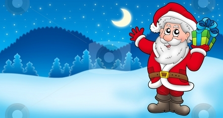 Landscape with Santa Claus 2 stock photo, Landscape with Santa Claus 2 - color illustration. by Klara Viskova