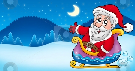 Landscape with Santa Claus 4 stock photo, Landscape with Santa Claus 4 - color illustration. by Klara Viskova