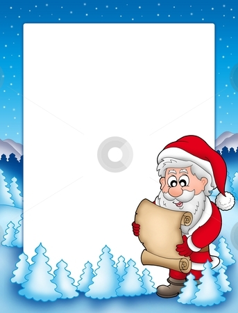 Frame with Santa and parchment stock photo, Frame with Santa and parchment - color illustration. by Klara Viskova