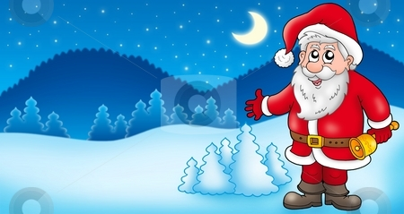 Landscape with Santa Claus 1 stock photo, Landscape with Santa Claus 1 - color illustration. by Klara Viskova