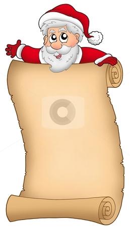 Parchment with happy Santa Claus stock photo, Parchment with happy Santa Claus - color illustration. by Klara Viskova