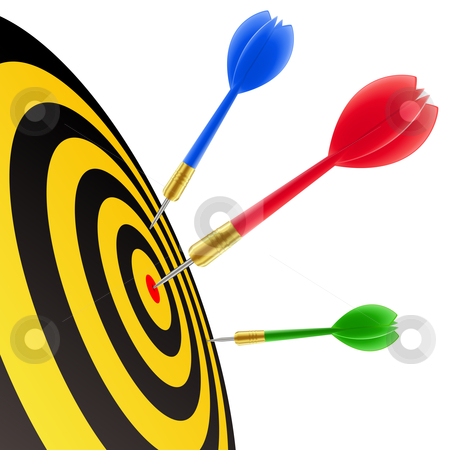 Darts hitting the target  stock vector clipart, Darts hitting the target by Laurent Renault