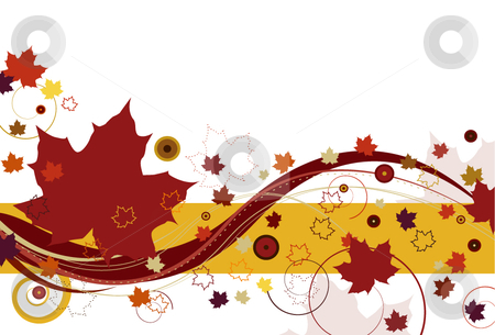 Autumn Leaves in Red stock vector clipart, Autumn leaves with large red leaves and abstract design on a white background. by x7vector