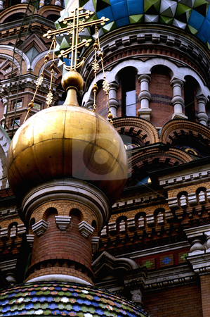 Church of our Saviour on Spilled Blood stock photo, Russia, St. Petersburg,The Church of Our Savior on the Spilled Blood (Where Tsar Alexander II was assasinated in 1881), Detail of exterior by David Ryan