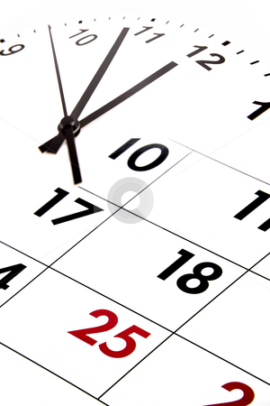 Time  stock photo, Calendar blending into clock face. by Les Cunliffe