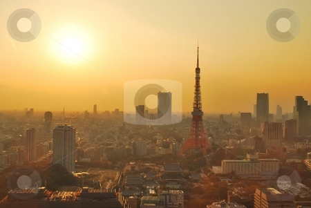Sunset view of Tokyo tower stock photo, Sunset view of Tokyo metropolitan city, a city that never sleeps. by Wai Chung Tang