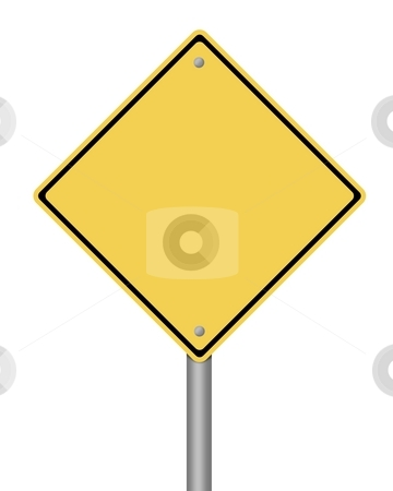 Warning Sign stock photo, Blank yellow warning sign on white background by Henrik Lehnerer