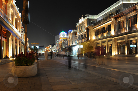 Night walk stock photo, A lit up walking street by Jack Young