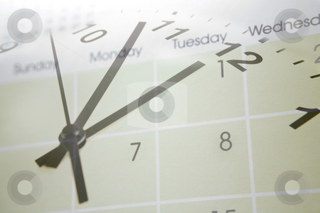 Time and calendar    stock photo, Clock face blending into calendar by Les Cunliffe