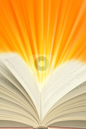 Book stock photo, Open book and light rays. Copy space by Les Cunliffe