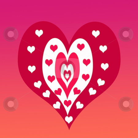 Hearts on Hearts stock photo, Illustration of valentine hearts made with photoshop by CHERYL LAFOND