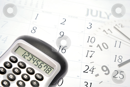 Business objects stock photo, Calculator, clock hands and July calendar by Les Cunliffe