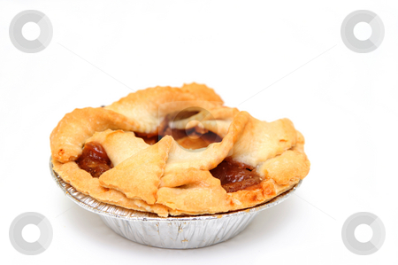 Apple Pie  stock photo, Apple pie for one on a white background in an aluminium pie pan by Lynn Bendickson