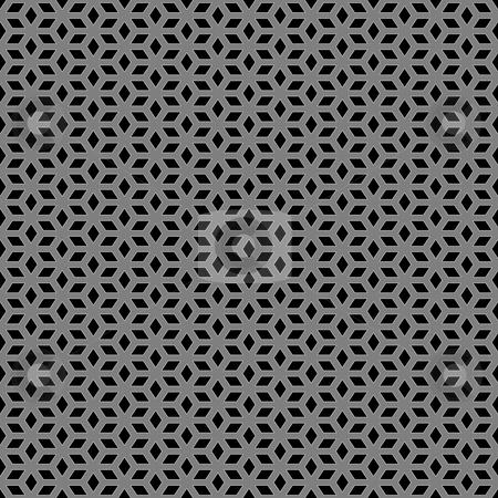Metallic escher pattern stock photo, Seamless texture of ornamental silver pattern on black by Wino Evertz