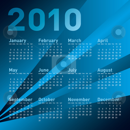 Blue Calendar 2010 stock vector clipart, Blue Calendar for year 2010, in vector format. by Germán Ariel Berra